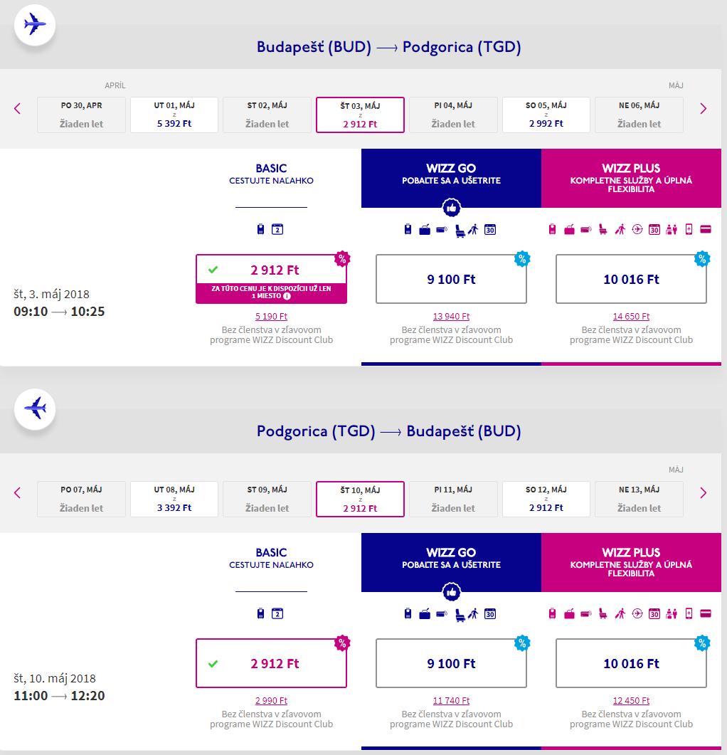 ČIERNA HORA - Podgorica z Budapešti v jarných termínoch od 19 eur