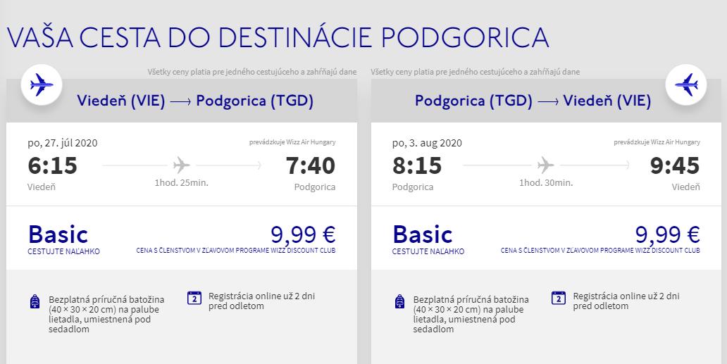 ČIERNA HORA - Podgorica z Viedne cez letné prázdniny od 20 eur