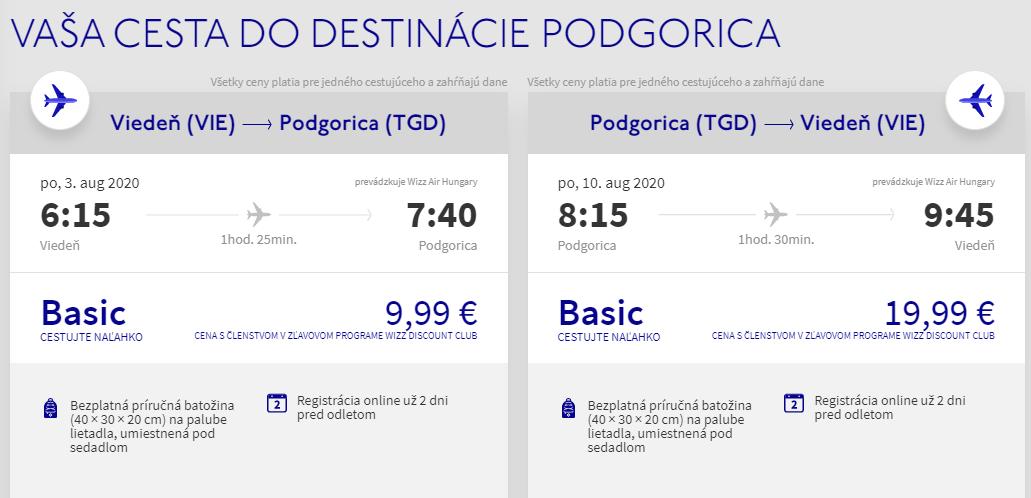 ČIERNA HORA - Podgorica z Viedne cez letné prázdniny od 30 eur