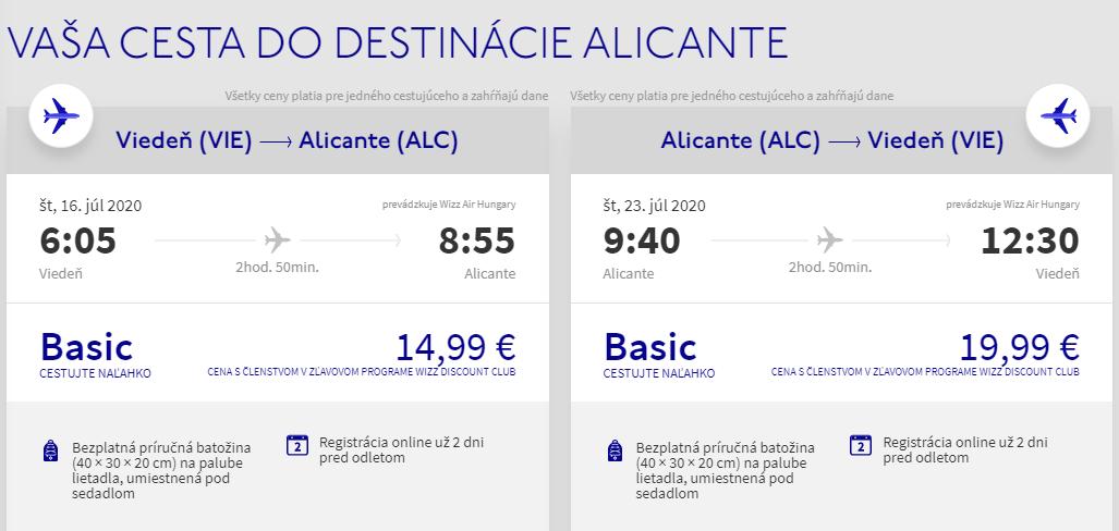 ŠPANIELSKO - Alicante z Viedne počas prázdnin s letenkami od 35 eur