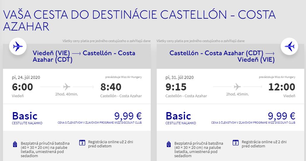 ŠPANIELSKO - Costa Azahar z Viedne cez letné prázdniny s letenkami od 20 eur