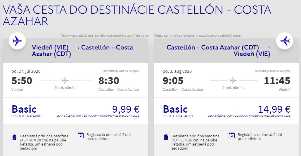 ŠPANIELSKO - Costa Azahar z Viedne cez letné prázdniny s letenkami od 25 eur