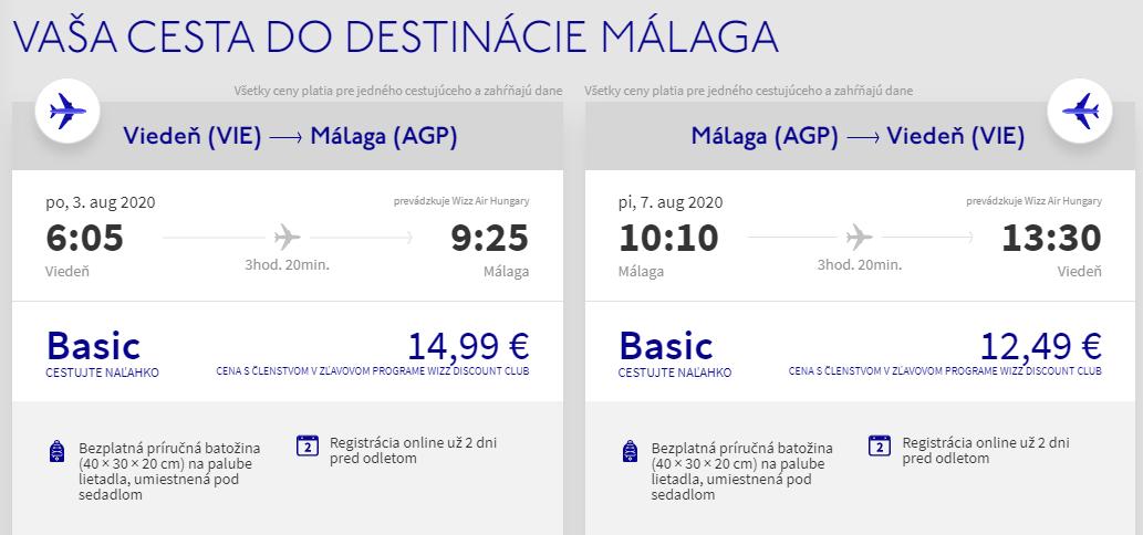ANDALÚZIA -Malaga z Viedne cez letné prázdniny s letenkami od 27 eur
