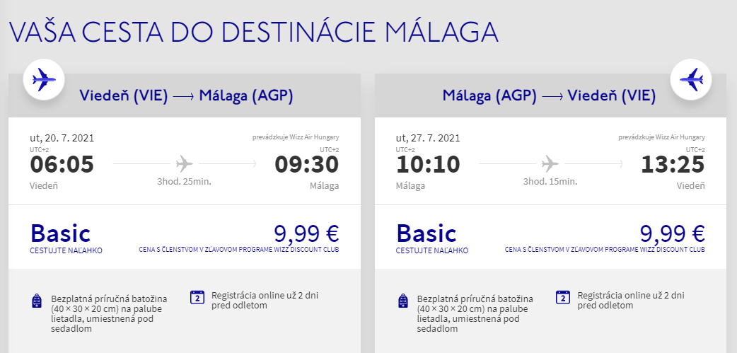 ANDALÚZIA - Malaga z Viedne v júlových termínoch s letenkami od 20 eur