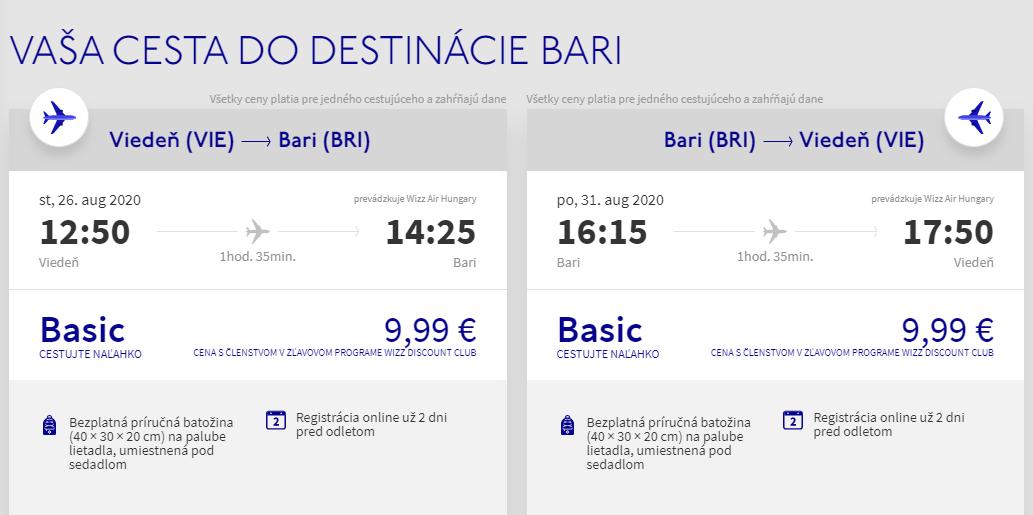 APÚLIA - Bari z Viedne koncom letných prázdnin s letenkami od 20 eur