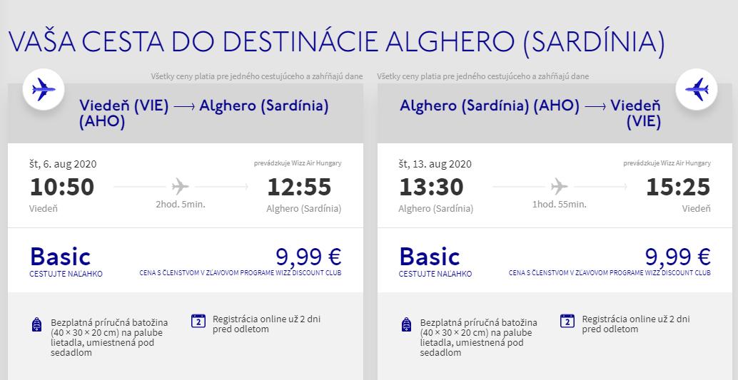 Alghero z Viedne cez letné prázdniny od 20 eur