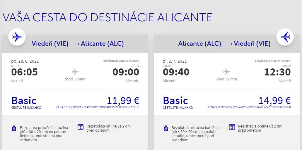 Alicante z Viedne začiatkom prázdnin s letenkami od 27 eur