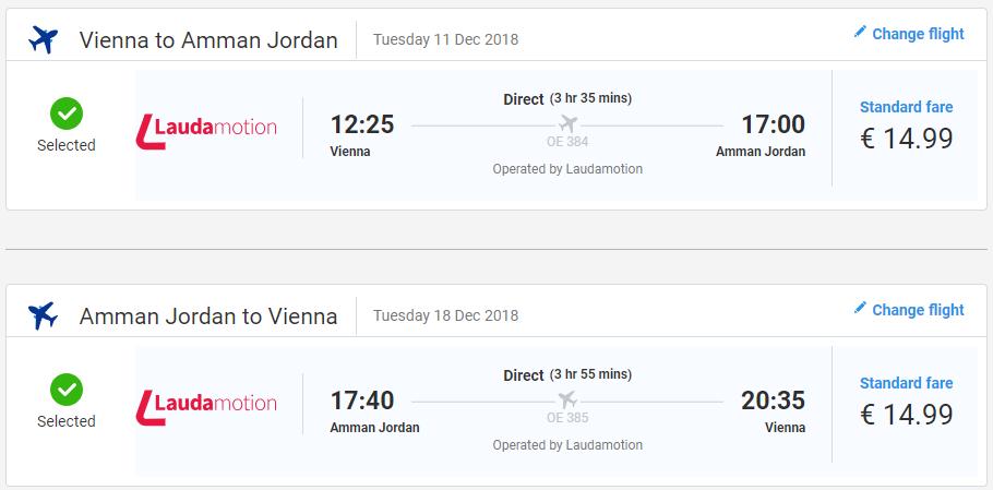 Ammán z Viedne s Laudamotion už od 30 eur