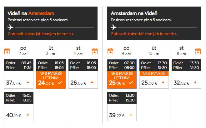 Amsterdam z Viedne začiatkom septembra s letenkami od 49 eur