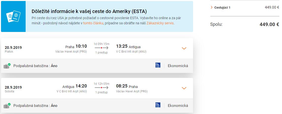 Antigua so zastávkou v New Yorku. Letenky z Prahy od 449 eur