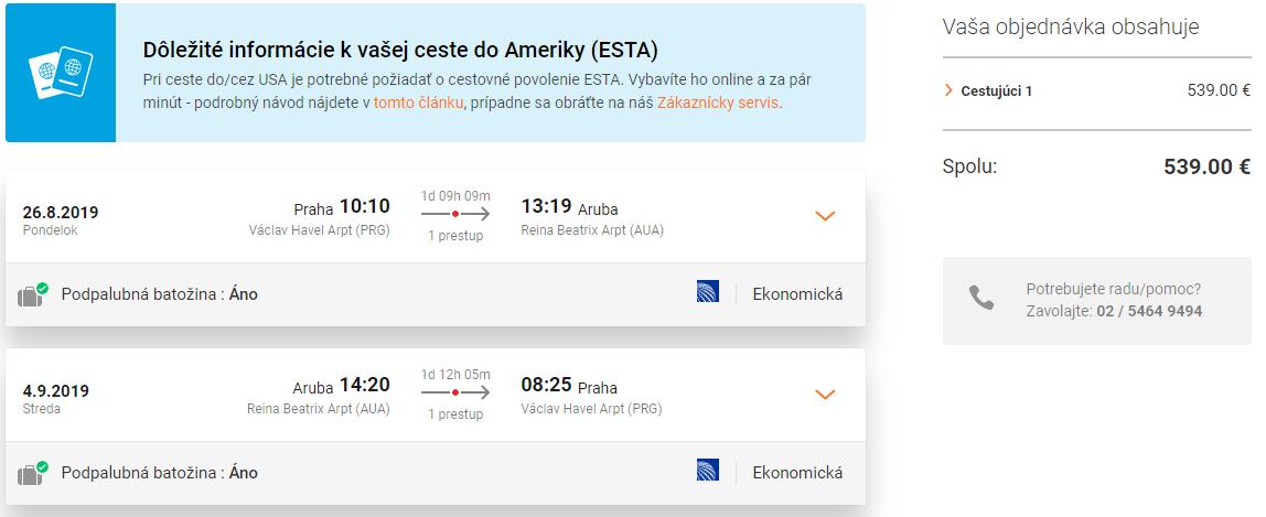 Aruba so zastávkou v New Yorku. Letenky z Prahy od 539 eur