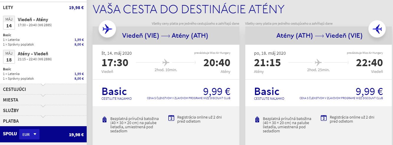 Atény z Viedne v májových termínoch s letenkami od 20 eur