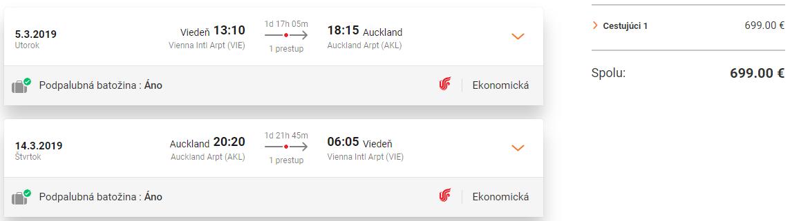 Auckland z Viedne s letenkami od 699 eur