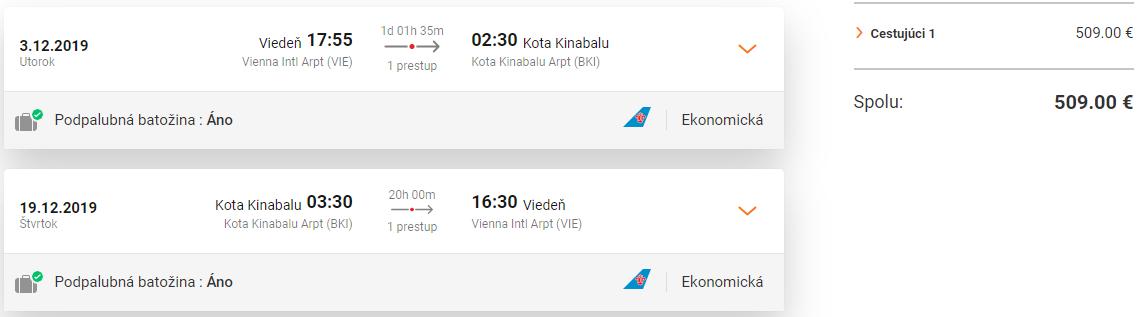 BORNEO - Kota Kinabalu z Viedne s letenkami od 509 eur