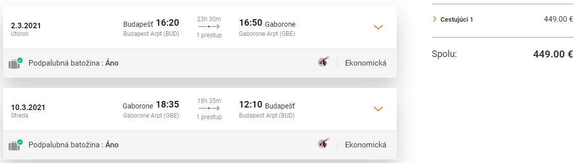 BOTSWANA S QATAR AIRWAYS - Gaborone z Budapešti s letenkami od 449 eur