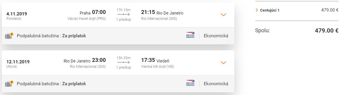 BRAZÍLIA - Spiatočné letenky do Rio de Janieiro od 479 eur