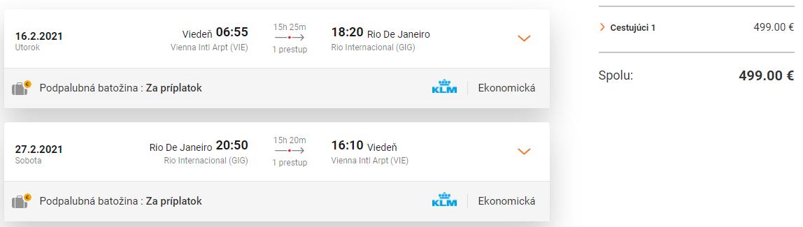 BRAZÍLIA - Spiatočné letenky z Viedne do Rio de Janeiro od 499 eur