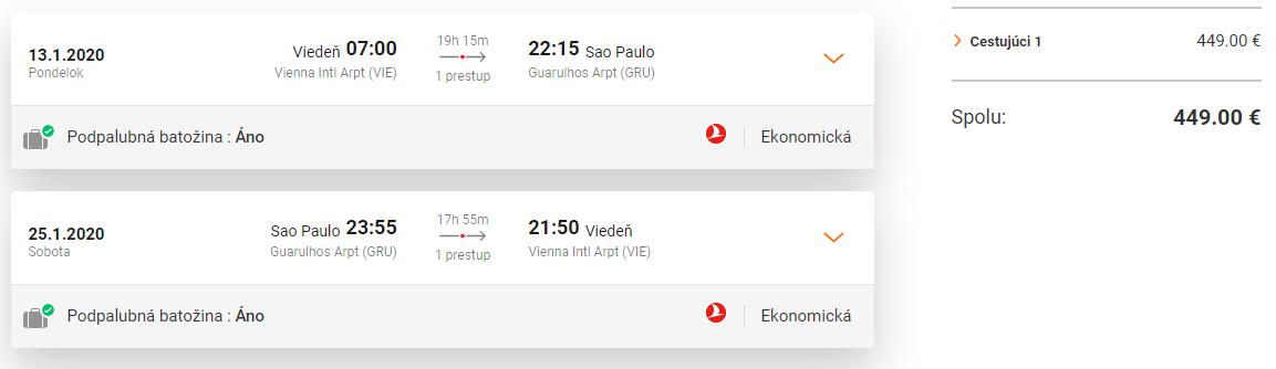 BRAZÍLIA S TURKISH AIRLINES - Sao Paulo z Viedne s letenkami od 449 eur