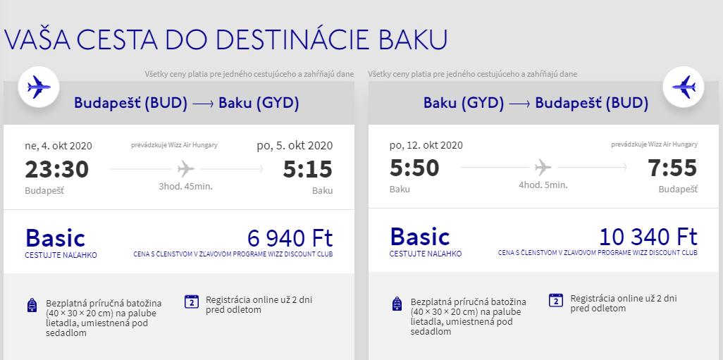 Baku z Budapešti začiatkom jesene s letenkami od 49 eur