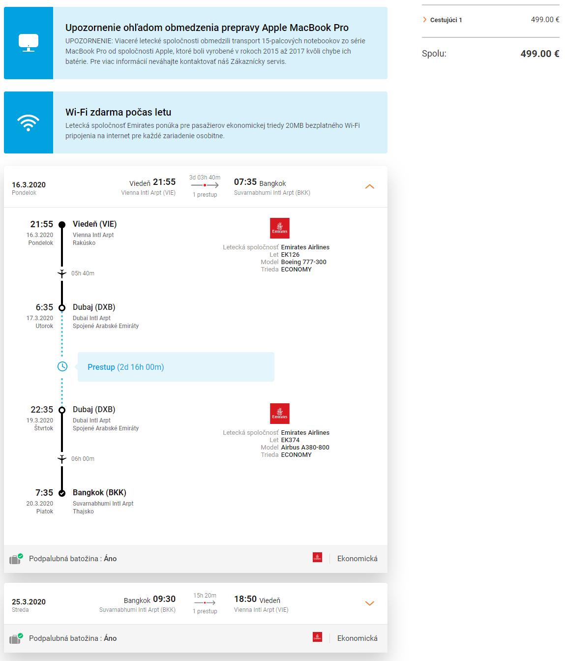 Bangkok + 2 dni v Dubaji s let.spoločnosťou Emirates a letenkami od 499 eur