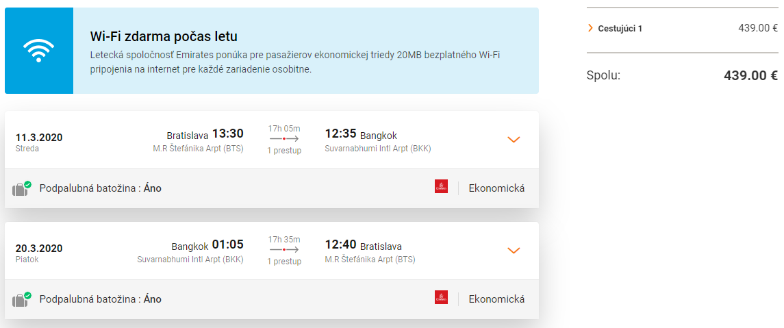 Bangkok z Bratislavy s letenkami od 439 eur