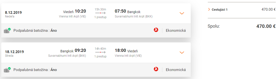 Bangkok z Viedne s Turkish Airlines s letenkami od 470 eur