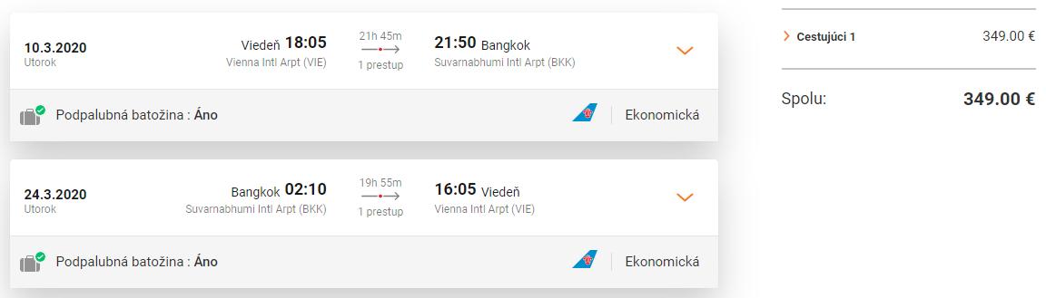 Bangkok z Viedne s letenkami od 349 EUR