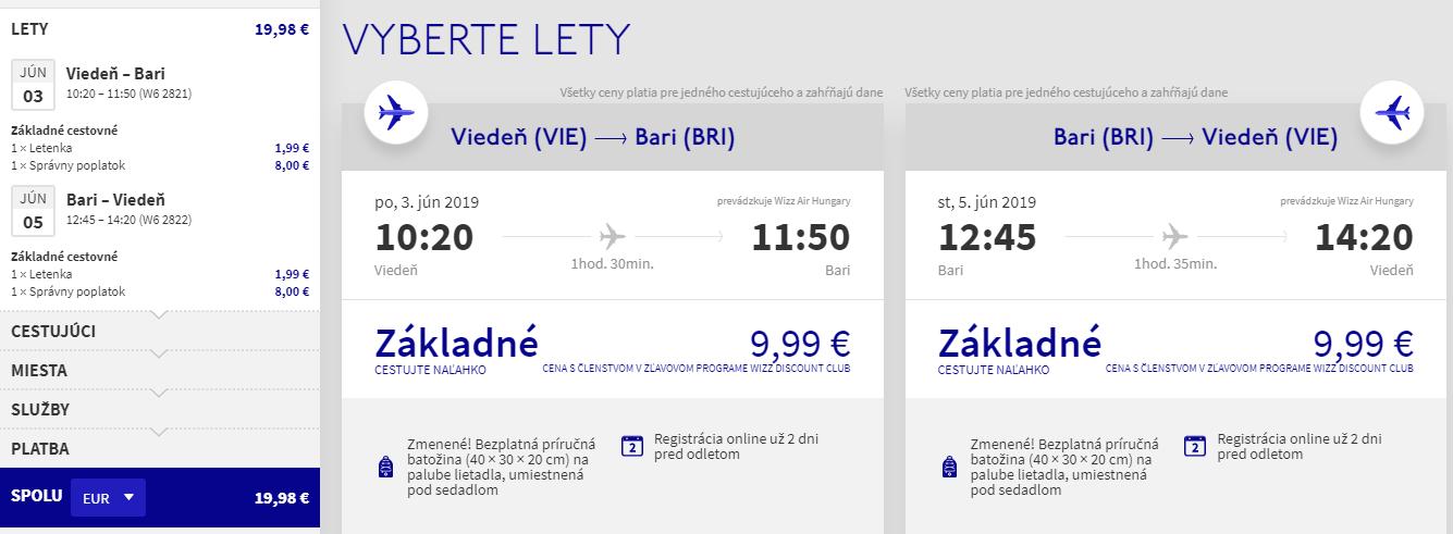Bari z Viedne v júnových termínoch od 20 eur
