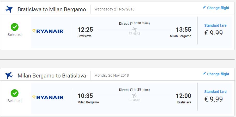 Bergamo z Bratislavy s letenkami od 20 eur