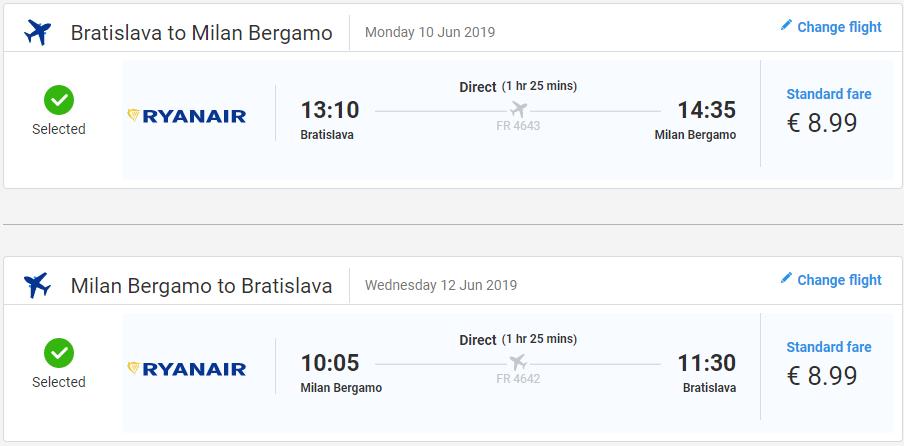 Bergamo z Bratislavy v júnových termínoch od 18 eur