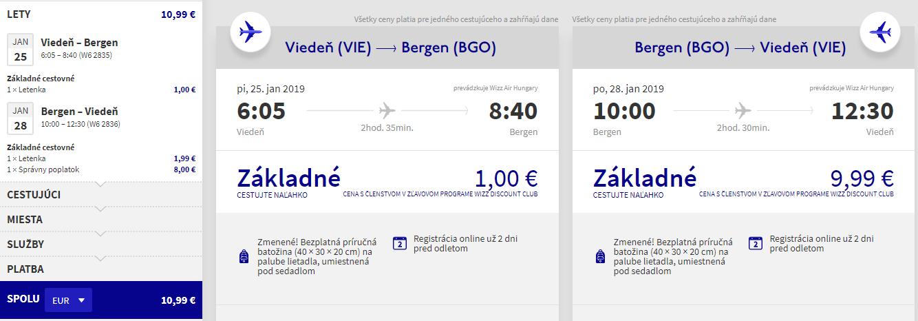 Bergen z Viedne aj na predĺžený víkend s letenkami od 11 eur