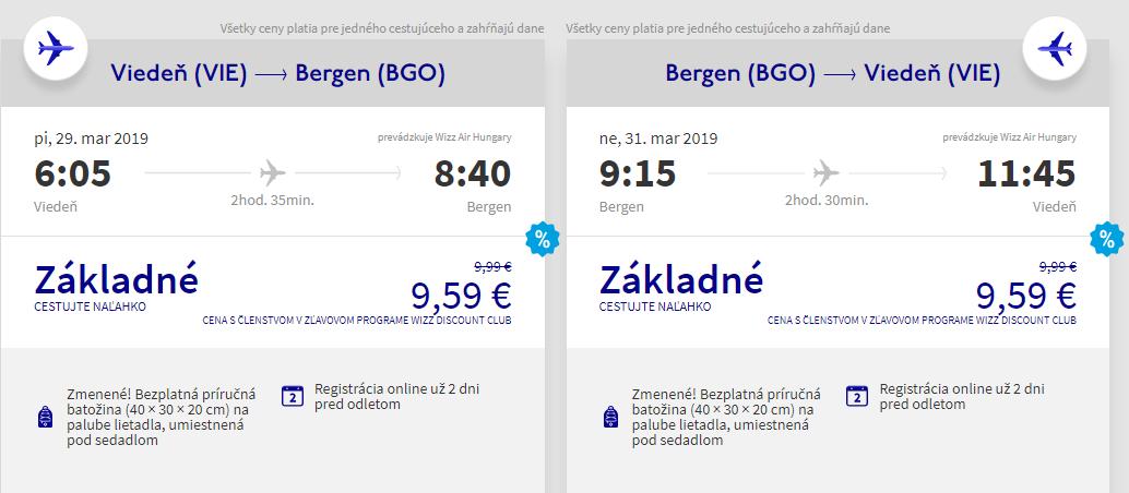 Bergen z Viedne aj na víkend s letenkami od 19 eur