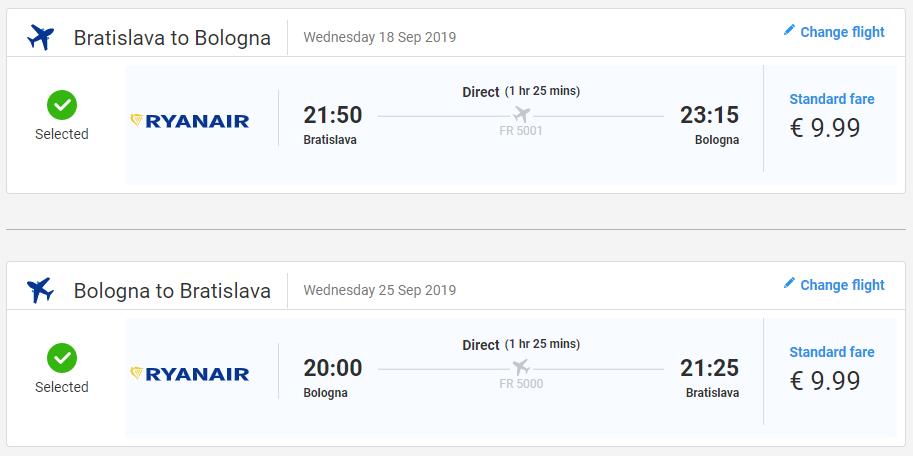 Bologna z Bratislavy v septembrových termínoch od 20 eur