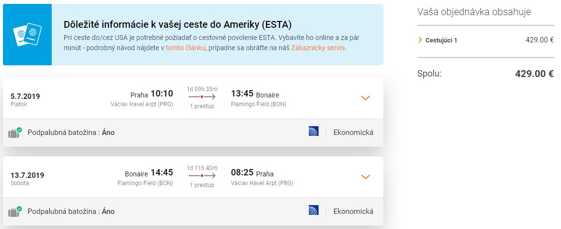 Bonaire so zastávkou v New Yorku. Letenky z Prahy od 429 eur