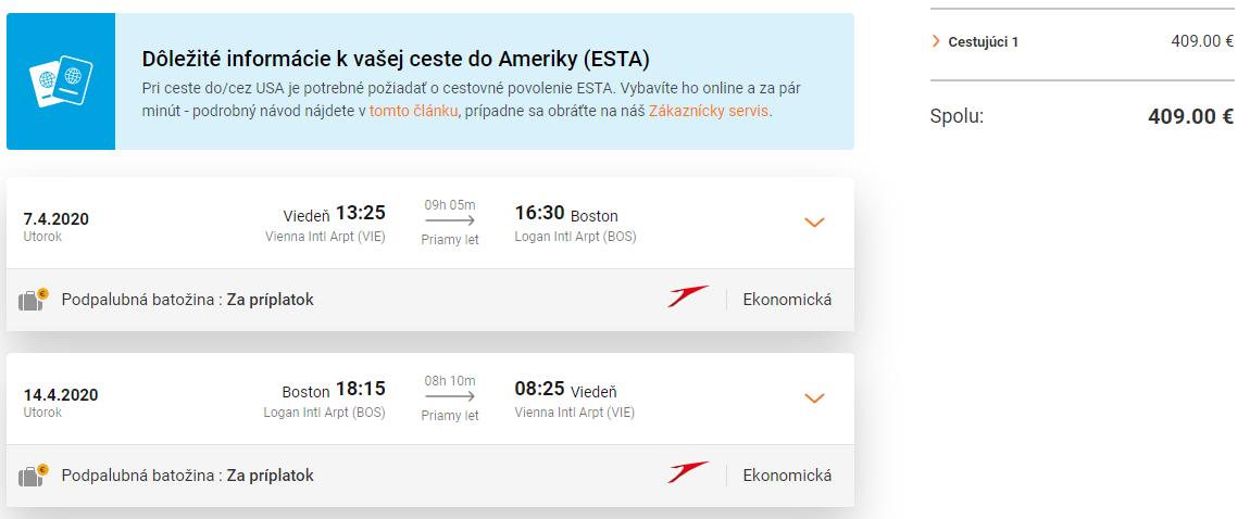 Boston z Viedne s Austrian Airlines. Priame lety už od 409 eur