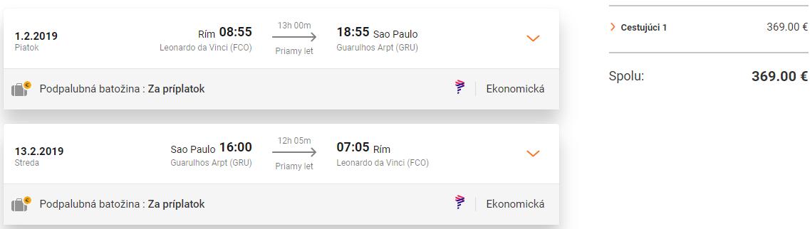 Brazílske Sao Paulo z Ríma s letenkami od 369 eur
