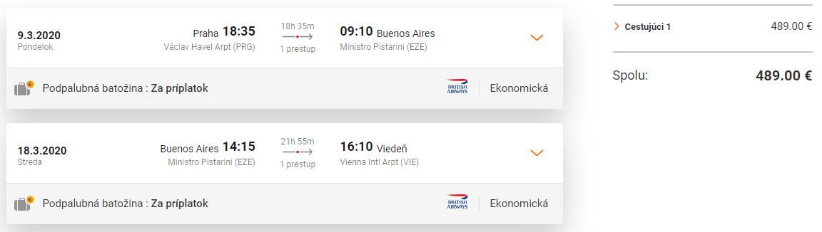 Buenos Aires s odletom z Prahy a s návratom do Viedne s letenkami od 489 eur