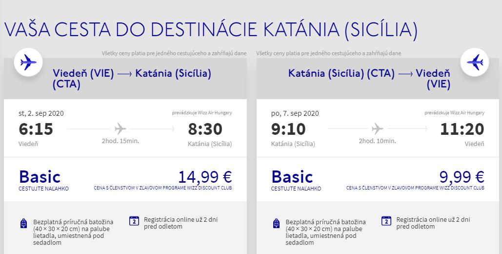 Catania z Viedne s letenkami od 25 eur
