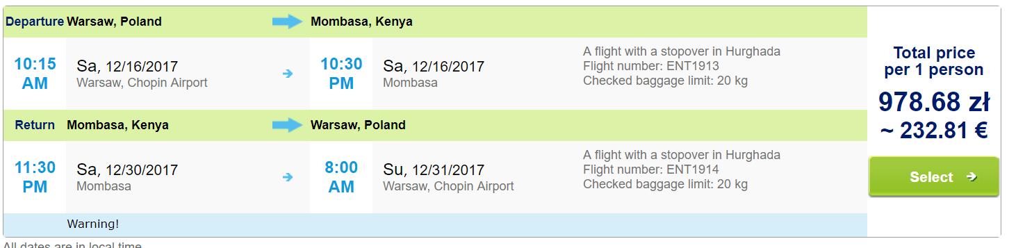 Charterové letenky do Kene. Mombasa z Varšavy už od 232 eur