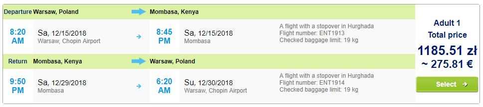 Charterové letenky do Kene. Mombasa z Varšavy už od 276 eur