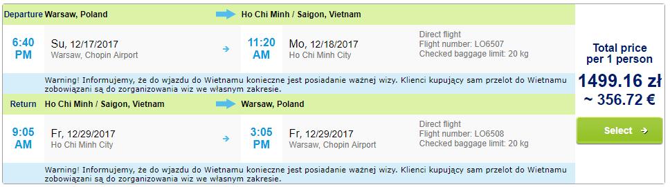 Charterové letenky z Varšavy do Hočiminovho mesta od 357 eur