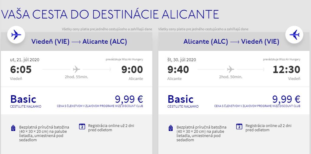 Costa Blanca cez letné prázdniny. Alicante z Viedne už od 20