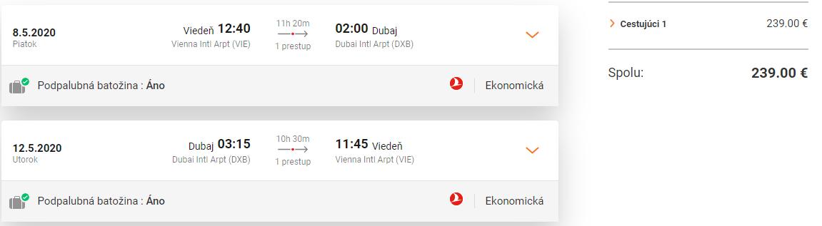 DUBAJ S TURKISH AIRLINES - Letenky z Viedne od 239 eur