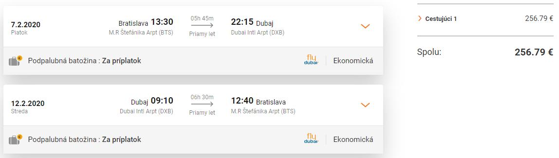 Dubaj z Bratislavy s letenkami od 259 eur