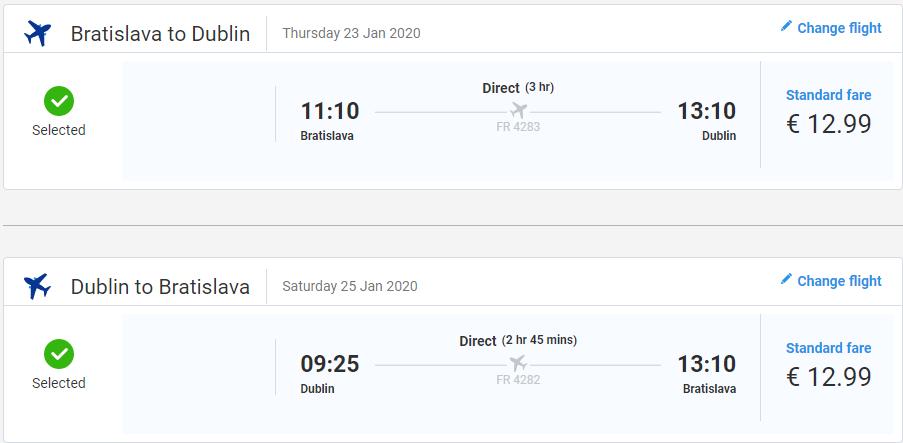 Dublin z Bratislavy s letenkami od 26 eur