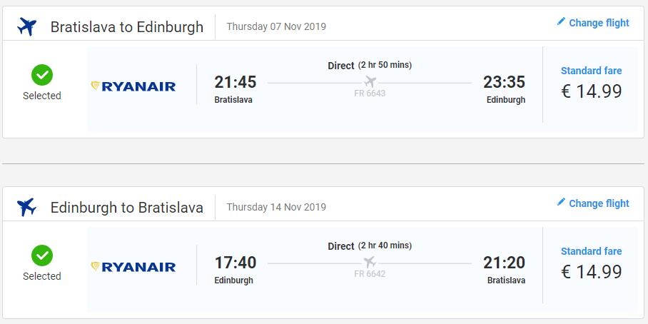 Edinburgh z Bratislavy s letenkami od 30 eur