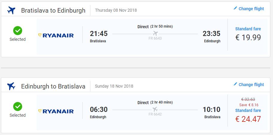 Edinburgh z Bratislavy s letenkami od 44 eur