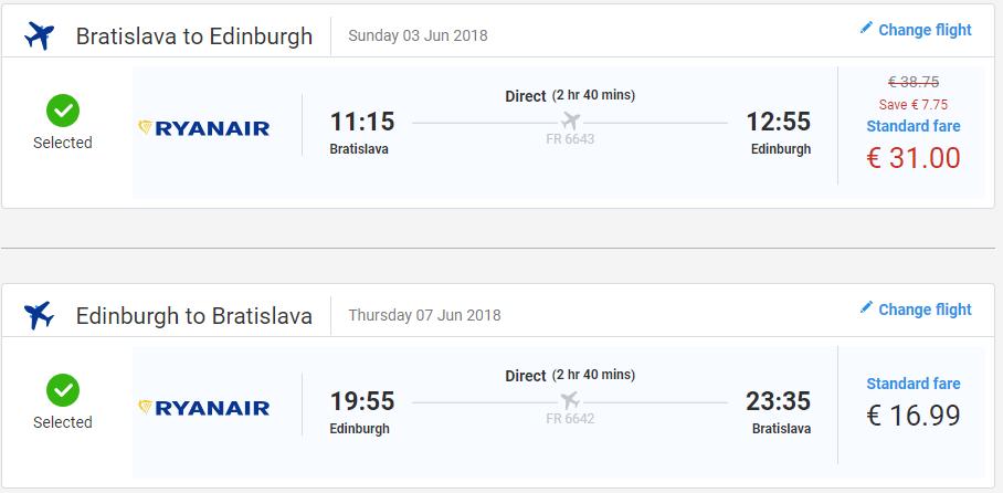 Edinburgh z Bratislavy s letenkami od 48 eur