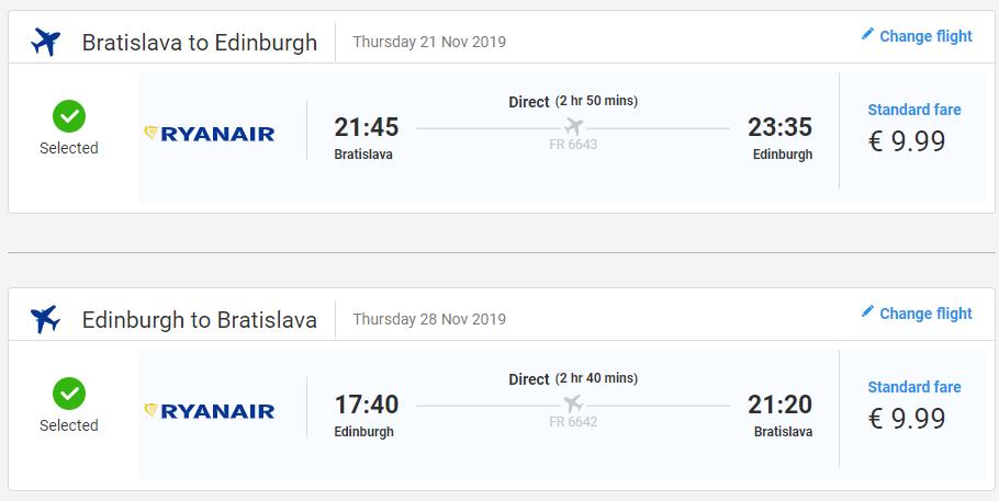 Edinburgh z Bratislavy v jesenných termínoch s letenkami od 20 eur