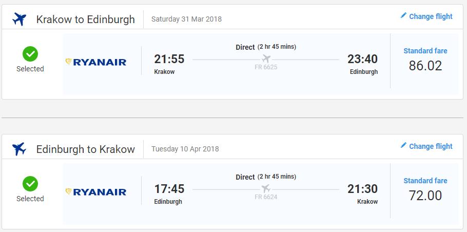 Edinburgh z Krakova v jarných termínoch už od 38 eur